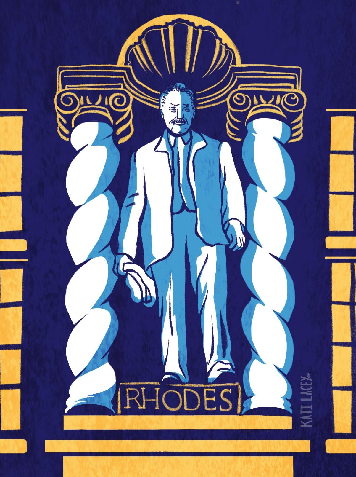Illustration of the Rhodes statue in Oxford by Kati Lacey.