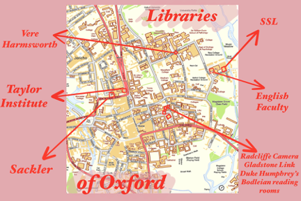 Map of the Oxford libraries mentioned in this article.