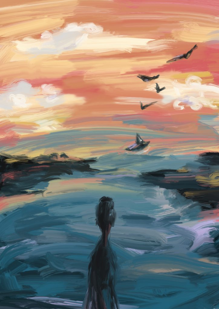A painting by author Yasmin Howells representing 'Drifter', or a creative translation from the Old English 'The Wanderer'.