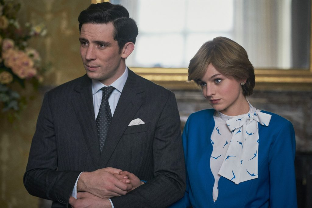 The Crown: Actors Josh O'Connor and Emma Corrin as Charles and Diana (respectively) in Season 4. Image belongs to Des Willie/Netflix.
