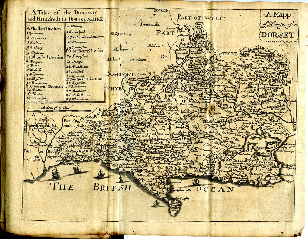 Map of Dorset made circa 1670, illustrating a narrow definition of the history of the British Isles.
