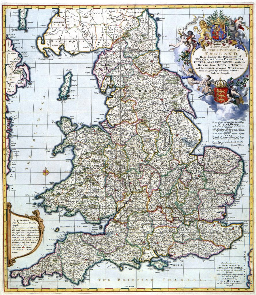Seventeenth-century map of England and Wales illustrating Hannah's concerns for HBI IV.