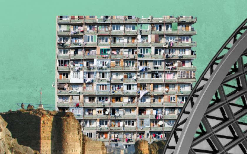 A turquoise background with iconic landmarks of Tbilisi collated in the foreground.